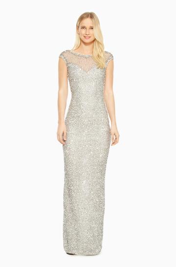 Https:/www.parkerny.com/jennifer-dress/b5g2586spk.html Parker Ny Jennifer Gown Dress Silver Sequin, Size 2