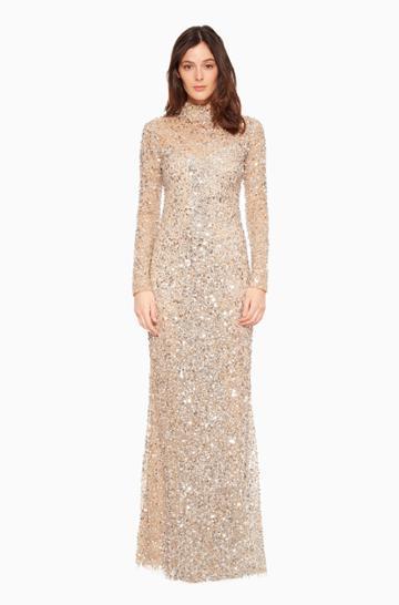 Https:/www.parkerny.com/leandra-dress/b7c3718msb.html Parker Ny Leandra Gown Dress Silver Sequin, Size 0