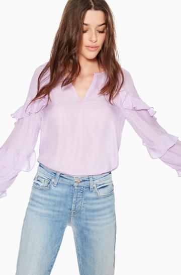 Https:/www.parkerny.com/julian-ruffled-blouse/p8a5207sb.html Parker Ny Julian Ruffled Blouse Iced Lavender, Size Xxs