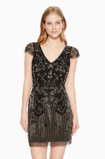 Https:/www.parkerny.com/lorena-dress/b8h4700shm.html Parker Ny Lorena Cocktail Dress Black Sequin, Size 4