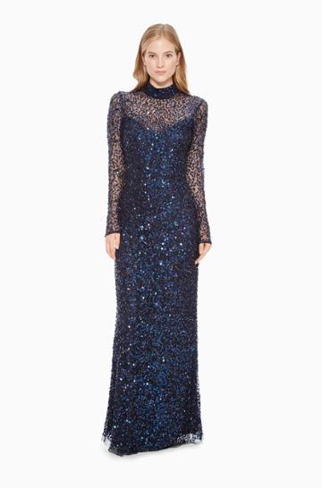Https:/www.parkerny.com/leandra-dress/b8i3718msb.html Parker Ny Leandra Gown Dress Midnight Sequin, Size 4