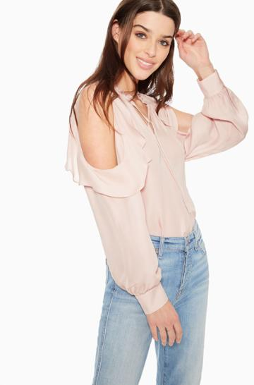 Https:/www.parkerny.com/marjorie-ruffled-blouse/pa003396sb.html Parker Ny Marjorie Ruffled Blouse Moonlight, Size X-small