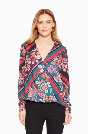 Https:/www.parkerny.com/lola-floral-blouse/p8k5088ppc.html Parker Ny Lola Floral Blouse Madison Stripe Floral, Size Xxs