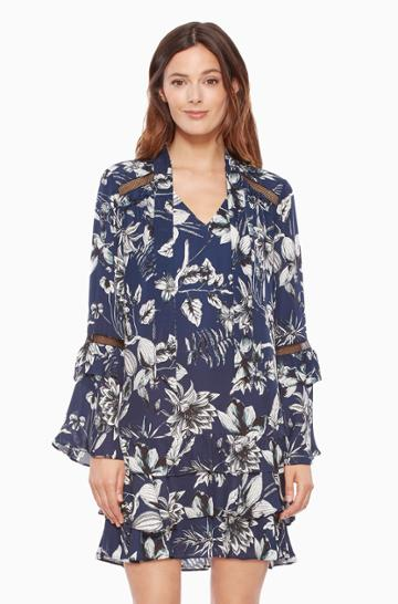 Https:/www.parkerny.com/cherise-combo-dress/p7j4155gep.html Parker Ny Cherise Combo Dress Blue Rooted Floral, Size X-small