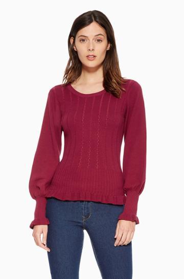 Https:/www.parkerny.com/henri-sweater/p8htsp10.html Parker Ny Henri Sweater Cranberry, Size Large