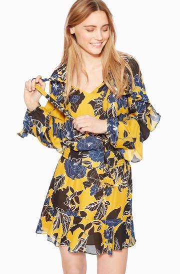 Https:/www.parkerny.com/gigi-ruffle-sleeve-smocked-waist-dress/p8l5160sbp.html Parker Ny Gigi Ruffle Sleeve Smocked Waist Dress Canary Gianna Floral, Size Xxs
