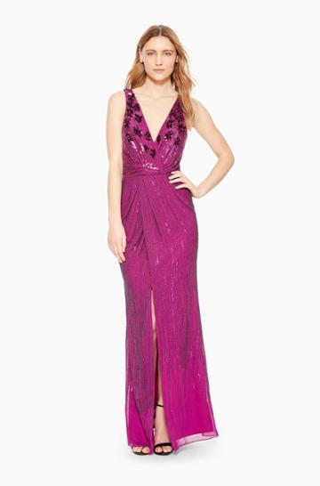 Https:/www.parkerny.com/monarch-dress/b8k2591btl.html Parker Ny Monarch Gown Dress Electric Berry Floral, Size 0
