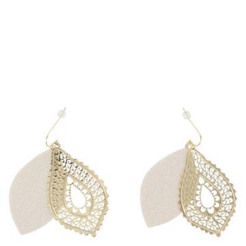 Minicci Women's Filigree Glitter Teardrop Earrings