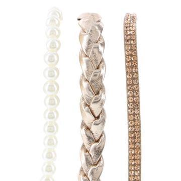 Minicci Women's (3 Pk) Faux Pearl And Gold Headbands