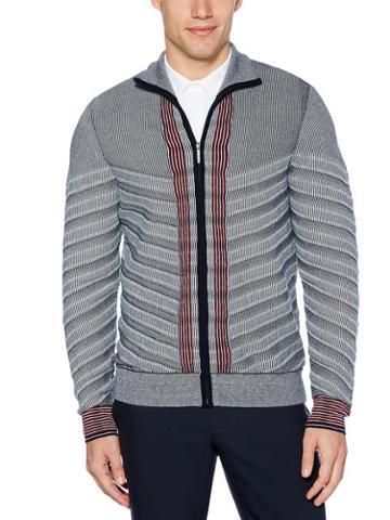 Perry Ellis Striped Full-zip Sweater