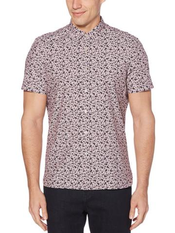 Perry Ellis Slim Fit Abstract Floral Print End-on-end Shirt