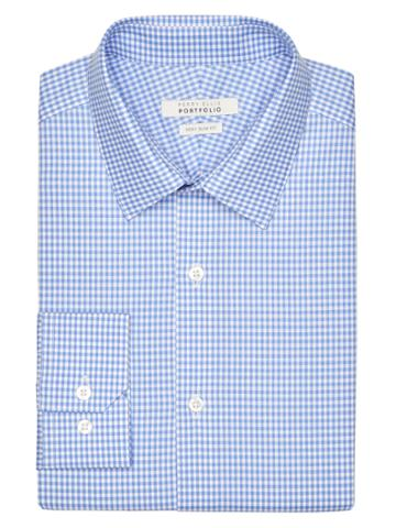 Perry Ellis Very Slim Blue Gingham Dress Shirt