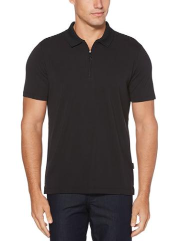 Perry Ellis Ribbed Zip Polo
