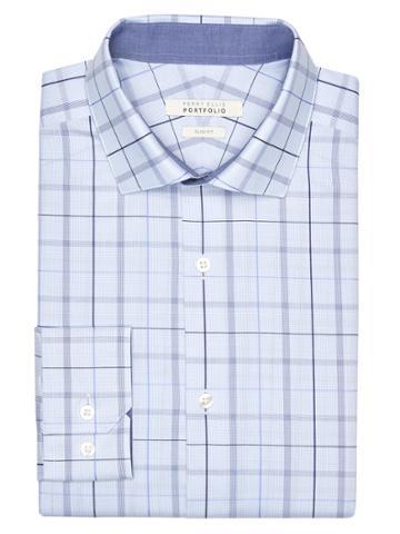 Perry Ellis Slim Fit Sky Plaid Dress Shirt
