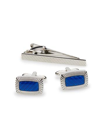 Perry Ellis Blue Rectangle Cufflink And Tie Bar Set