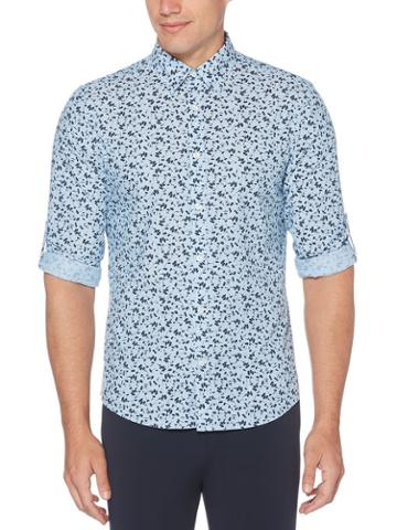 Perry Ellis Roll Sleeve Untucked Floral Shirt