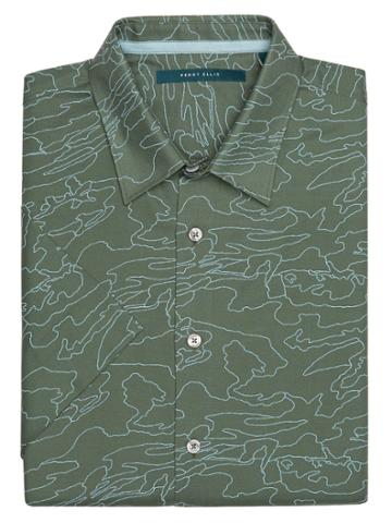 Perry Ellis Big And Tall Print Map Outline Shirt