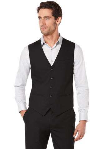 Perry Ellis Big And Tall Solid Bedford Suit Vest