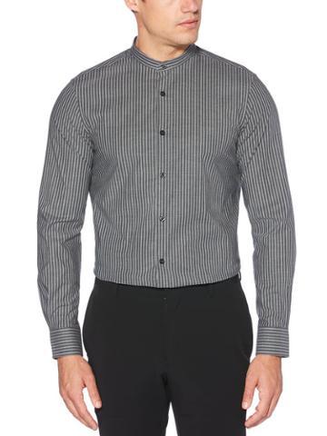 Perry Ellis Slim Fit Band Collar Mini Stripe Shirt