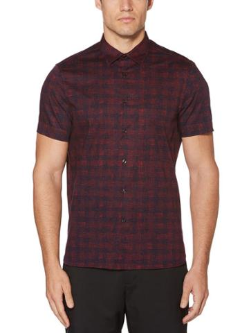 Perry Ellis Short Sleeve Scribbled Check Shirt