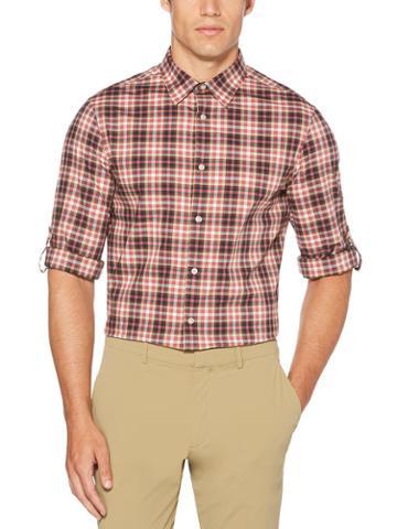 Perry Ellis Roll Sleeve Poplin Check Shirt