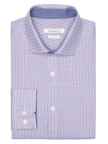 Perry Ellis Slim Fit Sky Check Dress Shirt