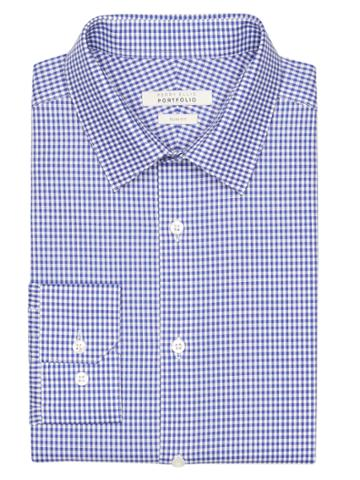 Perry Ellis Slim Fit Coastal Gingham Dress Shirt