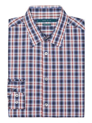 Perry Ellis Non-iron Multi-color Ombre Plaid Shirt