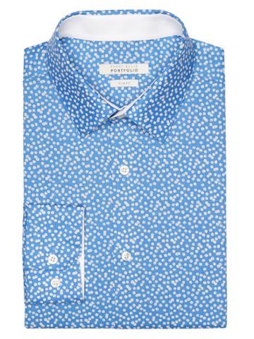 Perry Ellis Slim Fit Digital Print Dress Shirt