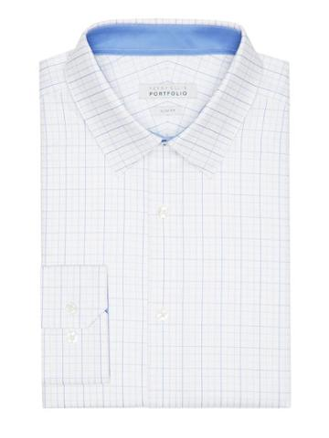 Perry Ellis Slim Fit Blue Plaid Dress Shirt