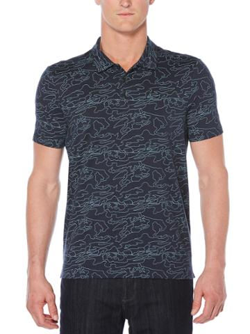 Perry Ellis Big And Tall Short Sleeve Print Map Outline Polo