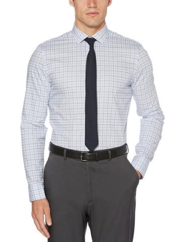 Perry Ellis Slim Fit Dark Plaid Dress Shirt