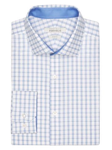 Perry Ellis Slim Fit Plaid Dress Shirt
