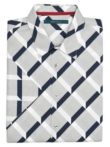 Perry Ellis Short Sleeve Optical  Ribbon Shirt