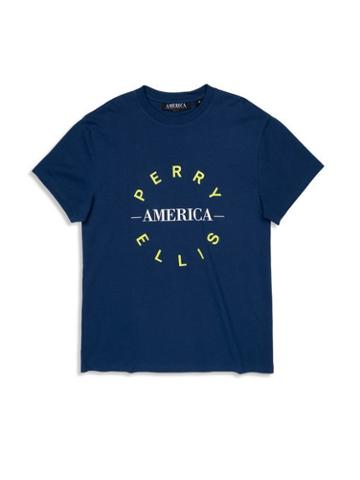 Perry Ellis Logo Round Pea T-shirt