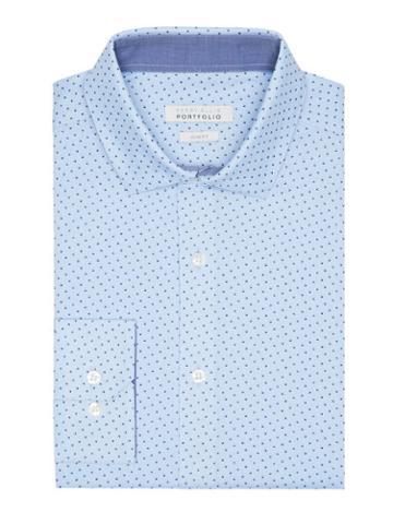 Perry Ellis Slim Fit Blue Print Dress Shirt