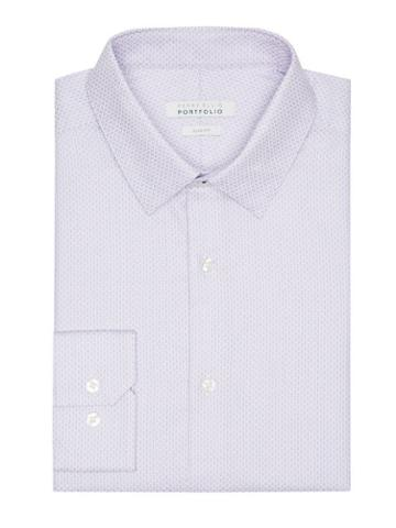 Perry Ellis Slim Fit Purple Dobby Dress Shirt