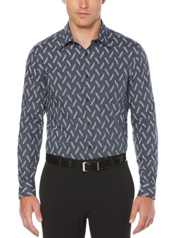 Perry Ellis Long Sleeve Check & Feather Shirt