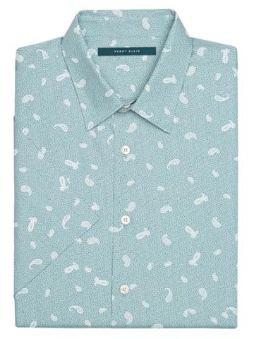 Perry Ellis Big And Tall Short Sleeve Paisley Toss Shirt
