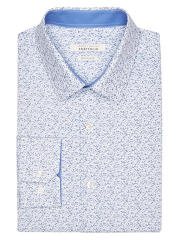 Perry Ellis Very Slim Cornflower Print Dress Shirt