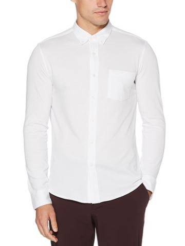 Perry Ellis Untucked Slim Fit Knit Oxford Shirt