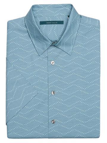 Perry Ellis Big And Tall Short Sleeve Tech Wave Shirt