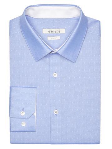Perry Ellis Slim Fit Sky Dobby Dress Shirt