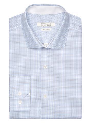 Perry Ellis Very Slim Cloud Plaid Dress Shirt