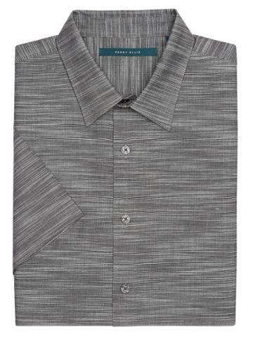 Perry Ellis Big And Tall Short Sleeve Solid Slub Texture Shirt