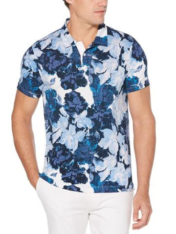 Perry Ellis Pima Cotton Abstract Floral Polo