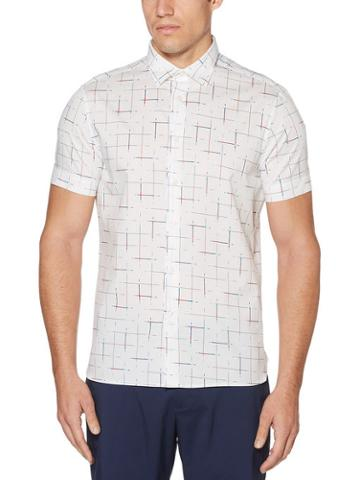 Perry Ellis Short Sleeve Staggered Line Shirt