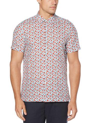 Perry Ellis Linen Print Untucked Shirt