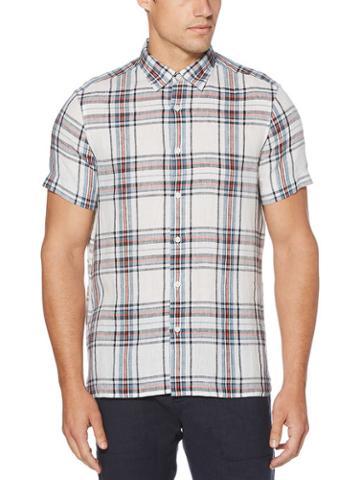 Perry Ellis Untucked Linen Plaid Shirt