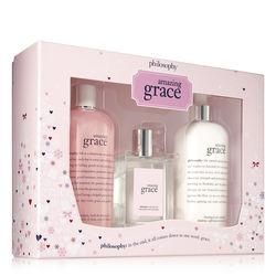 Philosophy 16 Oz Shampoo, Bath & Shower Gel, 16 Oz Firming Body Emulsion And 4 Oz Eau De Toilette,amazing Grace Jumbo Holiday Set